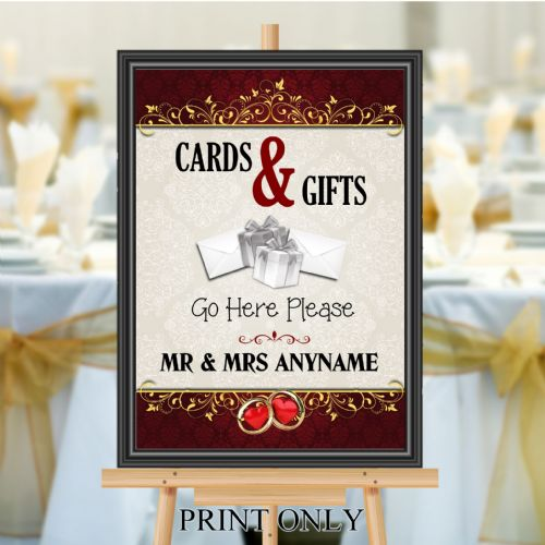 Personalised Wedding Cards & Gifts Sign Poster Banner - Print N201